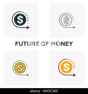 Future Of Money icon set. Four elements in diferent styles from fintech icons collection. Creative future of money icons filled, outline, colored and - Stock Photo
