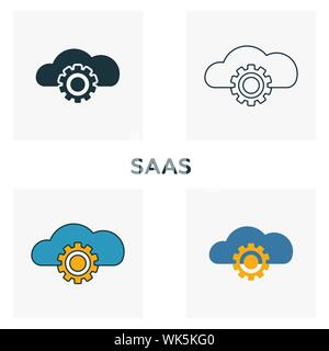 Saas icon set. Four elements in diferent styles from fintech icons collection. Creative saas icons filled, outline, colored and flat symbols - Stock Photo