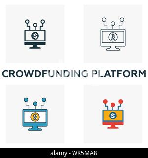 Crowdfunding Platform icon set. Four elements in diferent styles from fintech icons collection. Creative crowdfunding platform icons filled, outline - Stock Photo
