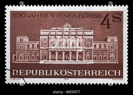Stamp issued in the Austria shows the 200th Anniversary of the Vienna Stock Exchange, circa 1971. - Stock Photo
