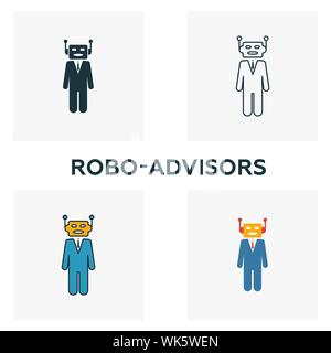 Robo-Advisors icon set. Four elements in diferent styles from fintech icons collection. Creative robo-advisors icons filled, outline, colored and flat - Stock Photo
