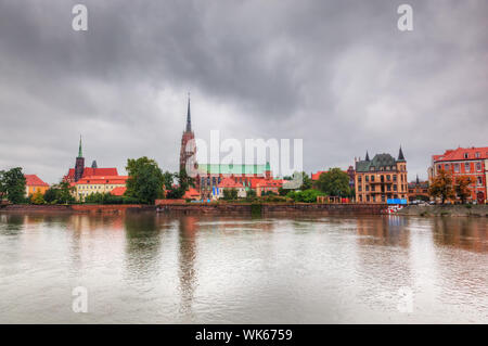 Wroclaw, Poland. Ostrow Tumski and Oder River. Also known as Cathedral Island - Stock Photo