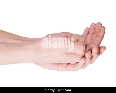 Cupped hands of a young man closeup. Isolation on white - Stock Photo
