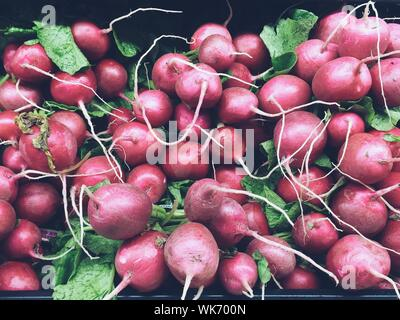 Stack For Turnips For Sale At Market - Stock Photo