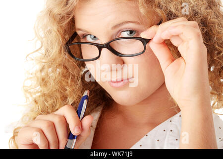 Beautiful pudgy caucasian student girl isolated on white background - Stock Photo