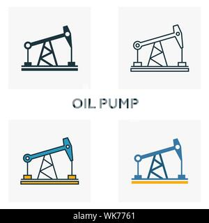 Oil Pump icon set. Four elements in diferent styles from power and energy icons collection. Creative oil pump icons filled, outline, colored and flat - Stock Photo