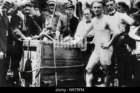 Harry Houdini (March 24, 1874 Ð October 31, 1926) was a Hungarian-born American illusionist and stunt performer, known for his sensational escape acts - Stock Photo