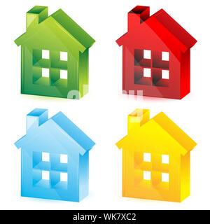 illustration of colorful houses on white background - Stock Photo