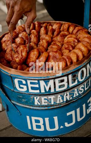 Gemblong. Fried glutinous rice buns from West Java, from a company of Ibu Juju - Stock Photo