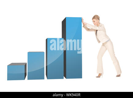 businesswoman moving big 3d chart - Stock Photo
