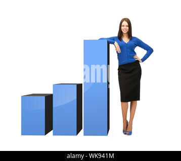 businesswoman leaning on big 3d chart - Stock Photo