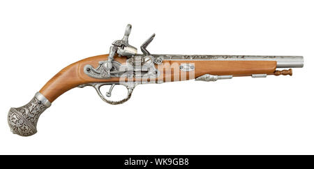 Ancient piracy pistol isolated on a white background - Stock Photo