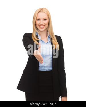 woman with an open hand ready for handshake - Stock Photo