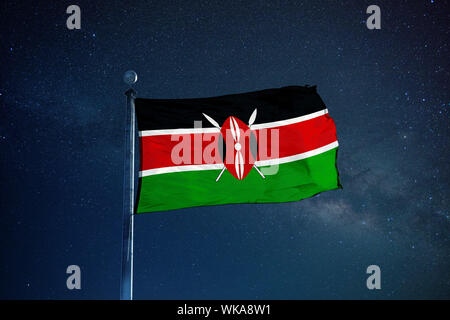 Low Angle View Of Kenyan Flag Against Star Field Sky - Stock Photo