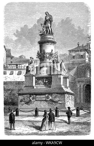 Monument to Christopher Columbus  built  in 1862 in Genoa, Italy. At the four corners of the pedestal 4 statues symbolizing nautics, religion, cautiousness and strength. Vintage engraving, 19th century - Stock Photo