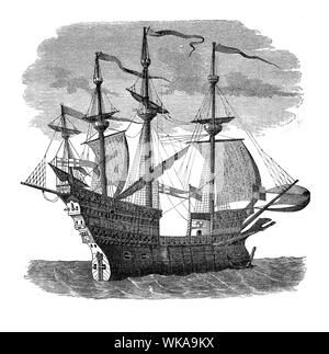 Henry VIII of England's Mary Rose,  formidable Man-of-War flagship of the English fleet in 16th century - Stock Photo