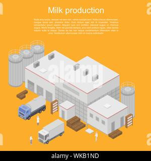 Milk production concept banner, isometric style - Stock Photo