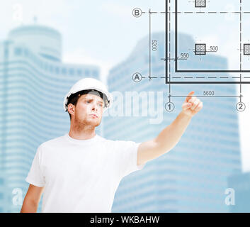 building, developing, consrtuction and architecture concept - male architect in helmet pointing to blueprint on virtual screen - Stock Photo