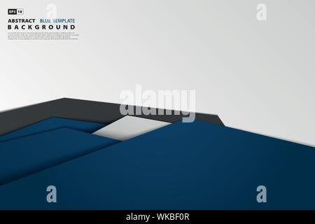 Abstract tech gradient blue overlap of business. Use for tech post, print, ad, artwork, design element. illustration vector eps10 - Stock Photo
