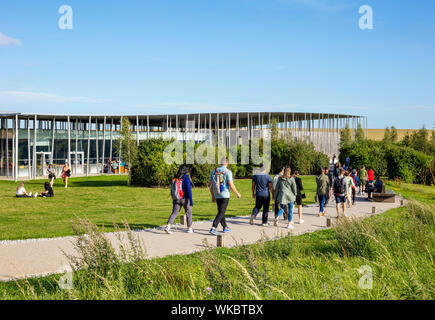 Tourists visiting the new Stonehenge visitor centre near Amesbury Wiltshire england uk gb Europe - Stock Photo