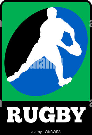 illustration of a silhouette of Rugby player running passing run ball with words 'rugby' - Stock Photo