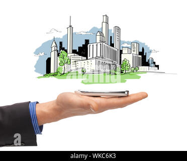 business and architecture concept - close up of man hand with smartphone and city sketch - Stock Photo