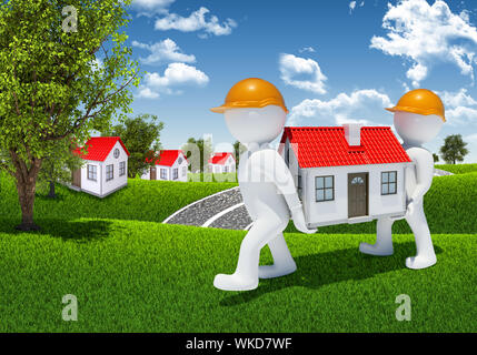 Two 3d human carry small white house. Houses and forest as backdrop - Stock Photo