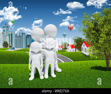Family 3d white people. Housing, road and forest as a backdrop - Stock Photo
