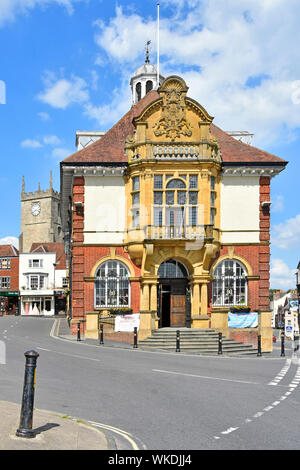 Old Marlborough Town Hall historical listed Victorian building in high street of English market town on busy A4 road & junction Wiltshire England UK - Stock Photo