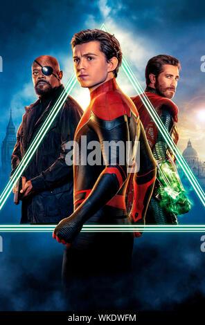 SPIDER-MAN: FAR FROM HOME 2019 de Jon Watts visuel d'affiche Samuel L. Jackson Tom Holland Jake Gyllenhaal. super heros; super hero; spiderman; spider - Stock Photo