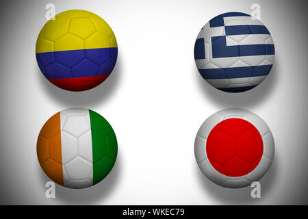 Group c world cup footballs on white background - Stock Photo