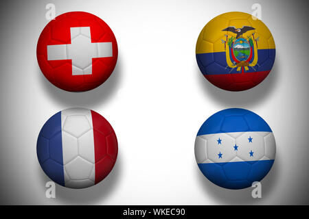 Group e world cup footballs on white background - Stock Photo