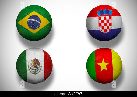 Group a world cup footballs on white background - Stock Photo