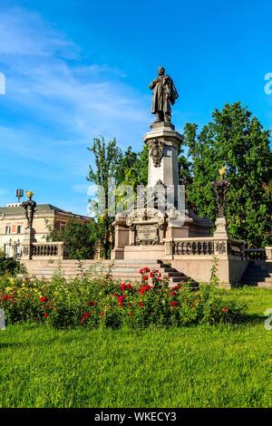 Warsaw, Poland - June 24, 2019: Monument of great Polish poet Adam Mickiewicz - Stock Photo