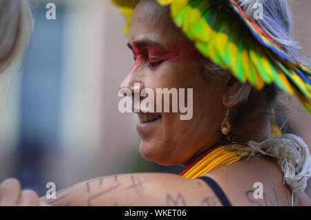 SOS Amazonia. The Hofplaats, The Hague, The Netherlands. Sunday 1st September, 2019. The Brazilian community of The Hague hold an anti-President Jair - Stock Photo