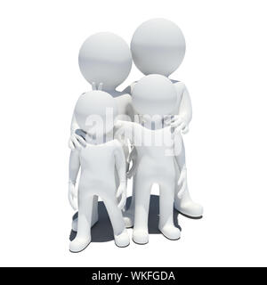 Family 3d people. Isolated on white background - Stock Photo