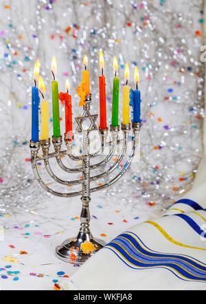Jewish Holiday symbol Star of David Hanukkah menorah Hanukkah, the Jewish Festival of Lights - Stock Photo
