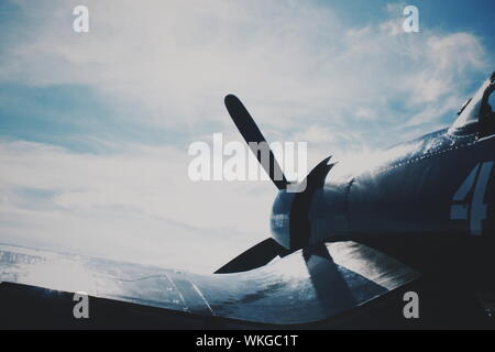 World War Ii Fighter Plane Against Sky - Stock Photo