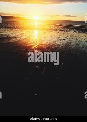 View Of Sun Reflecting On Sea Shore During Sunset - Stock Photo