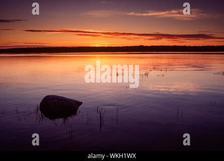 Sunrise on Misery Bay, Misery Bay Provincial Park, Manitoulin Island, Ontario, Canada - Stock Photo