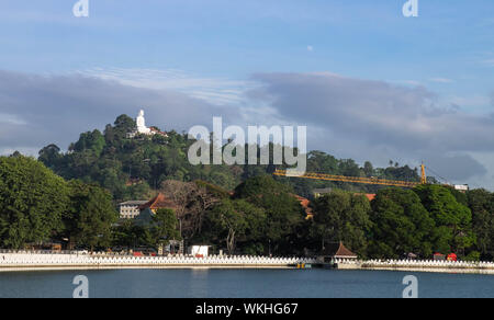 KANDY, SRI LANKA-AUGUST 07- 2019:  The lake of Kandy city in Sri Lanka. Located at the center of city. Around this lake is suitable for relax, exercis