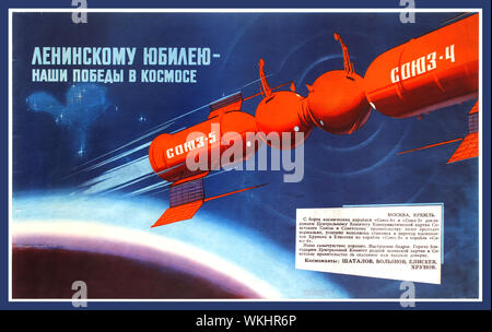 Vintage 1960's space race Soviet propaganda poster - To Lenin's Anniversary Our Victories in Space - featuring a dynamic illustration of an orange satellite marked in white text on the side reading Soyuz-5 and Soyuz-4 in space orbiting the earth against the deep blue background with a text box below listing the names of four cosmonauts: Vladimir Shatalov (b 1927), Boris Volynov (b 1934), Aleksei Yeliseyev (b 1934) and Yevgeny Khrunov (1933-2000). Launched on 14 January 1969, Soyuz 4 under the command of the cosmonaut Vladimir Shatalov was sent on a mission to dock with Soyuz 5 - Stock Photo