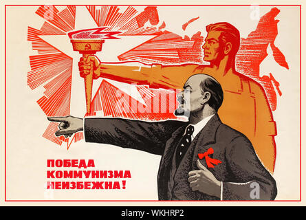 Vintage 1960's Soviet propaganda poster  'The Victory of Communism is Inevitable' featuring illustration of Lenin pointing and a Soviet worker holding a flaming torch of communism behind him. Soviet Russia, 1969, designer: V. Konuhov - Stock Photo