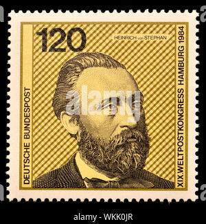 German postage stamp (1984) : Heinrich von Stephan (1831-97) general post director for the German Empire who reorganized the German postal service - Stock Photo