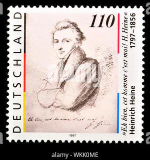 German postage stamp (1997) : Heinrich Heine (Christian Johann Heinrich Heine -1797-1856) German poet - Stock Photo