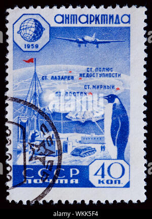 Soviet Union Postage Stamp - King Penguin (Aptenodytes patagonicus), Research Station - Stock Photo
