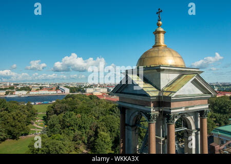 Fantastic views from the top of St Isaac's Cathedral rooftop on a sunny day in summer, St Petersburg, Russia - Stock Photo