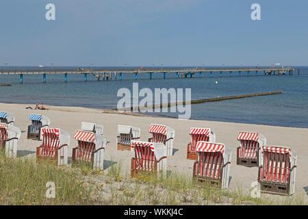 beach and beach chairs, Graal-Müritz, Mecklenburg-West Pomerania, Germany - Stock Photo