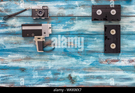 Directly Above Shot Of Various Vintage Technologies On Table - Stock Photo