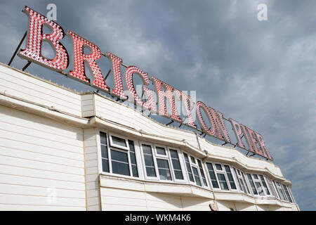 Low angle view of the Brighton Pier sign in East Sussex England UK  KATHY DEWITT